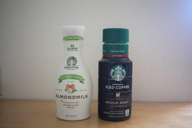 """<img src=""""Drink.jpg"""" alt=""""カリフォルニアファーマーズアーモンドミルクとスターバックスボトルアイスコーヒー""""/>"""