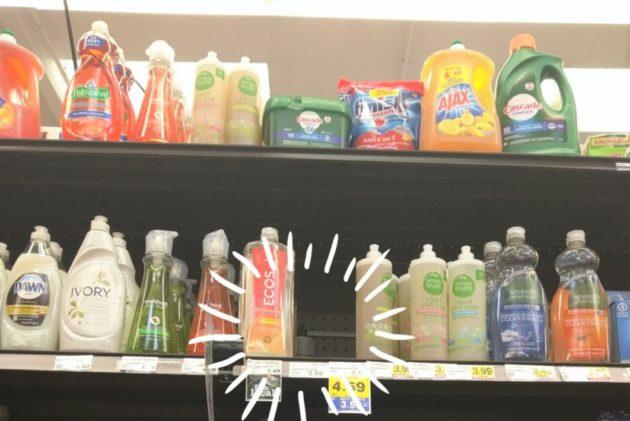 """<img src=""""Dish Soap.jpg"""" alt=""""アメリカのスーパーの棚が高くて洗剤に手が届かない""""/>"""